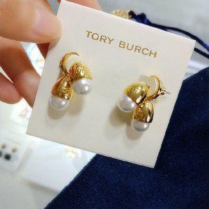 Tory Burch Fine Double Pearl Logo Earrings